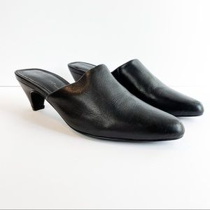 Intentionally Blank Perf Low Black Leather Mule